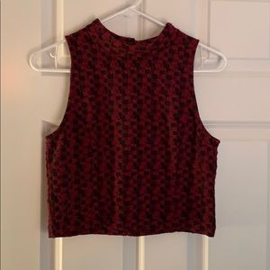 Tops - Cropped Red and Black Checkered Top